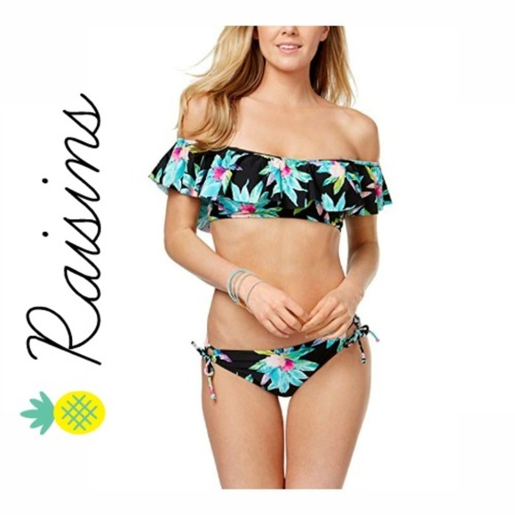 f30de183fb Raisins Ruffled Off-The-Shoulder Bikini Set!